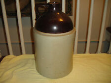 "Antique Stoneware Pottery Whiskey Jug Engraved ""A"" Large 15.8 Pounds 2 Tone"