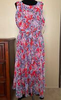 NWT Black Label Evan Picone A-Line Dress Red Poppy Floral Belted Midi Size 18