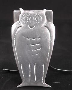 Solid Silver Owl Menu Holder Dates 1912 by Cornelius Saunders & Frank Shepherd