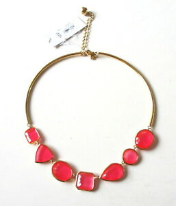 NEW Kate Spade Vegas Jewels Gold-Tone Collar Necklace W Caberet Pink Epoxy Stone
