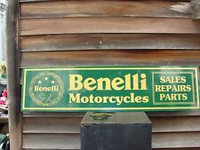 OLDER STYLE BENELLI ITALIAN MOTORCYCLE DEALER/SERVICE SIGN/AD 1'X4' GARAGE ART