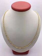 "10k Yellow Gold Solid Diamond Cut Rope Chain Necklace 20"" 3mm 12.3 grams"