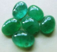 "6pc COLUMBIAN EMERALD CABOCHON 7x5mm GEMSTONES 4.5ct  BEAUTIFUL ""jardin"""