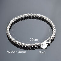 Charm Women Jewelry Bangle Chain Bracelet 925 Sterling Solid Silver Crystal Cuff