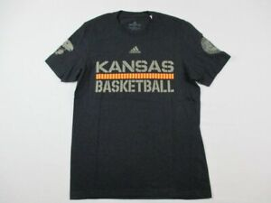 Kansas Jayhawks adidas Short Sleeve Shirt Men's Black Cotton NEW Multiple Sizes