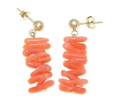 GENUINE NATURAL PINK CORAL BRANCH BALL DANGLE EARRINGS SOLID 14K YELLOW GOLD