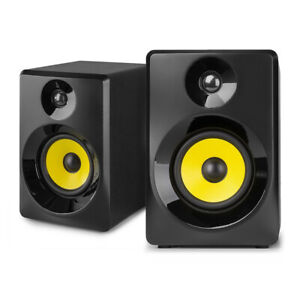 "Vonyx 40B Active Studio Monitors (Pair) 4"" Powered Multimedia Speakers Black"
