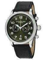 Stuhrling 482 33155 Velo Quartz Chronograph Date Green Dial Leather Mens Watch