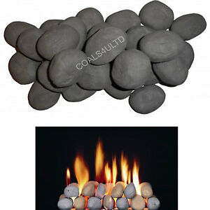 20 LARGE GREY GAS FIRE REPLACEMENTS/STONES/PEBBLES GAS FIRE REPLACEMENT COAL