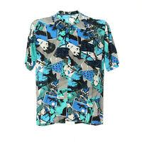 Herren Vintage Kurzarmhemd Größe S Freizeit Shirt Retro Mix Muster Viskose