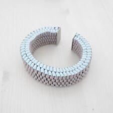 HOF115: COS Armband cuff band folded grau / Folded ribbon bangle grey pale blue