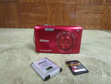 Nikon CoolPix S3300 Digital Camera Red 16MP, 6X Wide Zoom, 16GB Memory Card