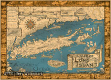 "Courtland Smith's ""A Map of Long Island""  1930s Historic Wall Map - 24"" x 36"""