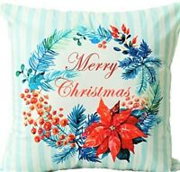 UK Handmade Embroidery Christmas Flower Cushion Cover with Invisible Zipper