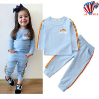 2PCS Toddler Baby Kid Infant Girl Tops Pants Casual Outfits Tracksuit Clothes US