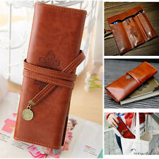 Brown PU Leather Pencil Pen Case Cosmetic Pouch Pocket Brush Holder Makeup Bag