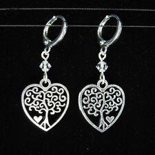 *SJ1* 3D Tree Of Life Heart Charm Sterling Silver Dangle Earrings w/ Swarovski