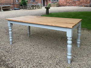 Farmhouse Base Grey Colour with Solid Classic Oak Top