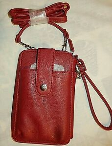 Safe Keeper Faux Leather Red Crossbody Purse Cell Phone Holder Wallet Wristlet