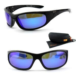 Rennec Sport Sonnenbrille Polarisiert Schwarz Blau Verspiegelt Biker P73 Box