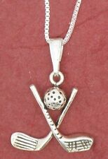 Sterling Silver Golf Clubs Necklace solid 925 charm pendant and chain golfing