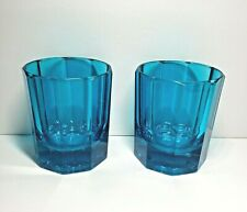 Teal Blue Green Scotch Whiskey Beverage Wine Glass Cup Lot of 2