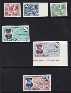 GUERNSEY / HERM ISLAND 9 MAY 1965 WINSTON CHURCHILL / LIBERATION SET IMPERF MNH