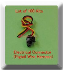 (Lot of 100) 3 Wire Electrical Connector Pigtail Wire Harness 417 Multi Purpose