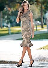 NEW GOLD/BLACK Venus Textured Flounce Dress - SIZE 10
