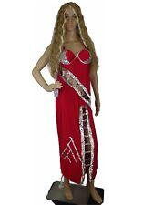 Women Gown Silk Spaghetti Strap Beaded Glitter Shiny Wet Look Cut Out Bra M