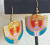 Laurel Burch MAORI Dangle Earrings Gold Filled and Multi Color Enamel ~ Vintage