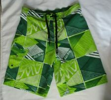 MAUI AND SONS GREEN AND WHITE SWIM TRUNK / BOARD SHORTS -  SIZE 36