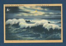 "Vintage Postcard ""Breaking Waves in the Moonlight"" Crescent Beach, S.C. 1951"