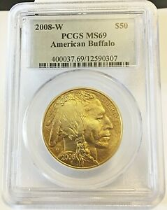 "2008-W $50 American Buffalo .9999 Fine Gold,  PCGS MS 69  "" VERY RARE"""