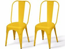 2x Stuhl Küchenstuhl Essstuhl Bistrostuhl Cafe Bar Metall stapelbar retro gelb