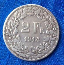 MONNAIE ANCIENNE ** SUISSE ** HELVETIA DEBOUT  EN ARGENT 2F 1914 B