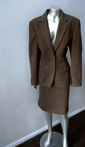 TALBOT'S VINTAGE WOOL SILK CASHMERE BLEND HOUNDSTOOTH MOD SKIRT SUIT 14 (Italy)