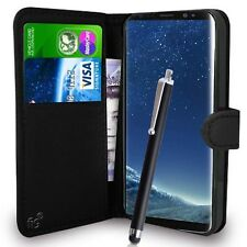 Black Wallet Case PU Leather Book Cover For Samsung Galaxy S8 Mobile Phone