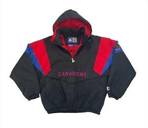 Vintage 90's Montreal Canadiens NHL 1/4 Zip Hooded Starter Jacket - Medium VGC
