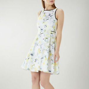 COAST Dress UK 20 COCO Fit and Flare Summer Party Cruise White Lemon BNWT