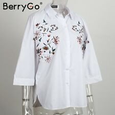 BerryGo Floral Embroidery White Blouse Shirt Women Spring Summer Cotton Tops