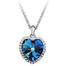 Ocean Heart Pendant Necklace Women Crystal Rhinestone Jewelry Accessories FO