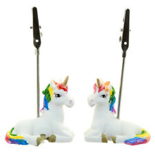 Cute Collectable Rainbow Unicorn Postcard and Memo Clip Paper Holder SET OF 2