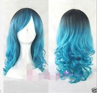 Fashion Cosplay Lolita Wig Women Full Long Curly Wavy Blue Mix Hair Wigs