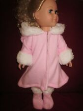 Handmade doll clothes for American Girl doll/18 inch/pink fleece coat/boots
