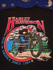 Vintage 80s 90s Harley Davidson t shirt Military Green Motorcycle 1903 sz M Blck
