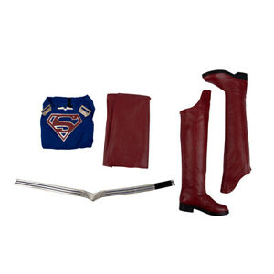 DFYM Supergirl Cosplay Costume Women Jumpsuit Leather Cloak Red Halloween Outfit