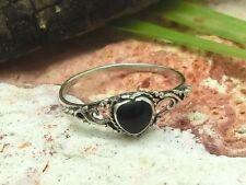 925 Silber Ring Kinder Damen Stein schwarz Herz Jugendstil