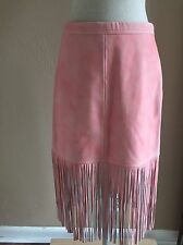NEW JCREW Collection Fringe suede leather skirt Size 10 PINK
