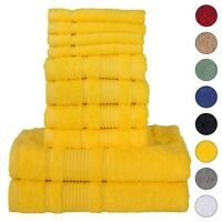 NEW YELLOW Color ULTRA SUPER SOFT LUXURY PURE TURKISH COTTON  8 PCS TOWELS SETS